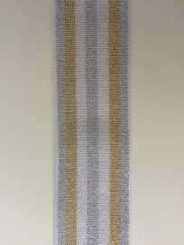 Glitter tailleband, wit/zilver/goud. 4 cm breed. Prijs per meter.