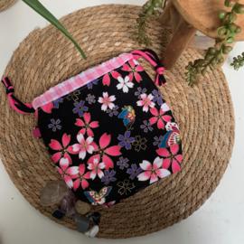 Projectbag S, gevoerd, Zwart met roze, gebloemd