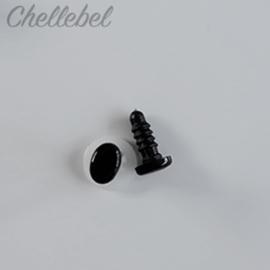 Ovale zwarte veiligheidsoogjes 8 x 6 mm 5 paar