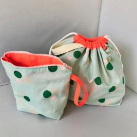 Project bag, haaktas XXL, Mint gevoerd met neon canvas | Haaktas | Breitas | Handwerktas