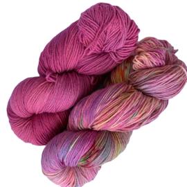 Handgeverfd garen, Framboise en Fruitgarden, 200 gram sokkenwol