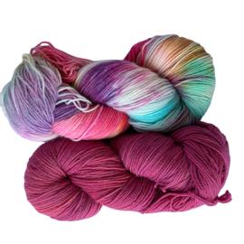 Handgeverfd garen, Framboise en Happy Days, 200 gram sokkenwol