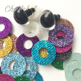 10 paar glitteroogjes | veiligheidsoogjes 8 mm kleuren mix