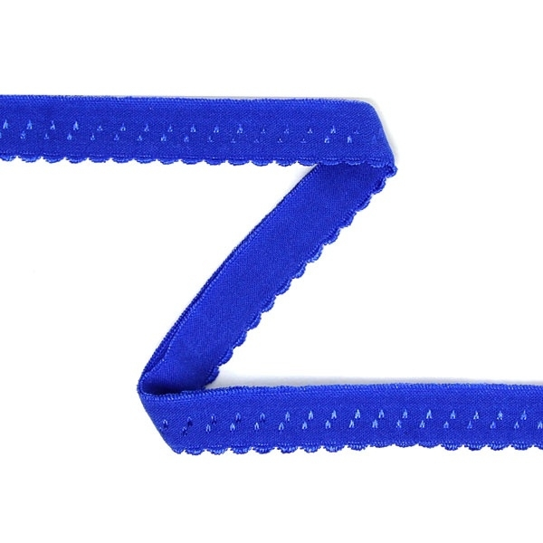 Elastisch omvouwelastiek met sierrandje. Kobalt blauw