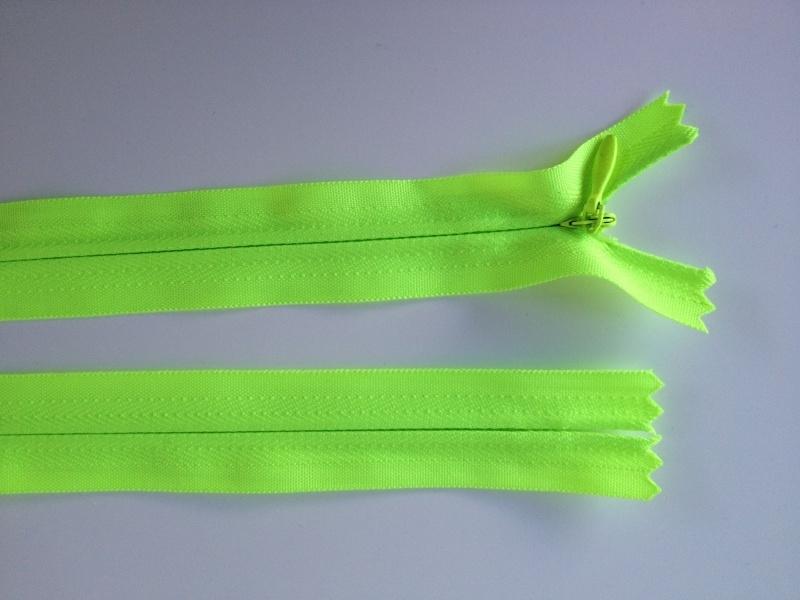 Blinde rits, 40 cm neon geel, 5 stuks