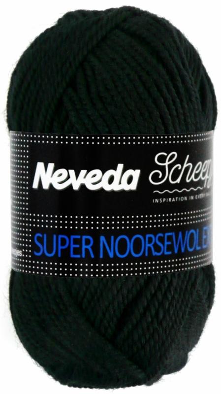 Scheepjes Super Noorse Wol (Neveda) 5 bollen a 50 gram,  zwart (300) inclusief GRATIS digitale toerenteller