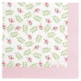 GreenGate Paper Napkin Lily Petit White Large 20 Pieces 33 x 33 cm
