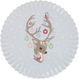 GreenGate Ceramic Coaster Round Dina Pale Blue