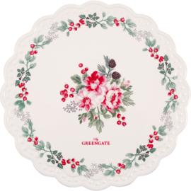 GreenGate Ceramic  Coaster Board Round Charline White