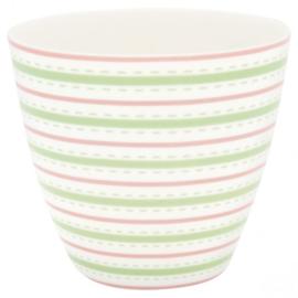 GreenGate Stoneware Latte Cup Sari White H 9 cm