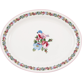 GreenGate Stoneware Oval Serving Plate Ellie White