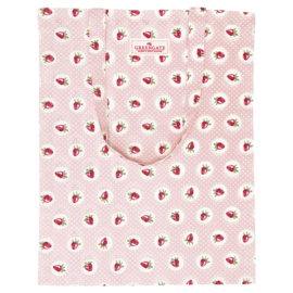 GreenGate Bag Cotton Strawberry Pale Pink 34 x 45 cm