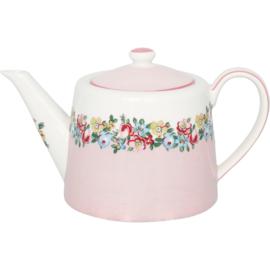 GreenGate Stoneware Teapot Madison White