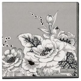 GreenGate Paper Napkin Felicity Grey Large 20 Pieces 33 x 33 cm