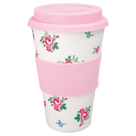 GreenGate Bamboo Travel Mug Constance White H 14 cm