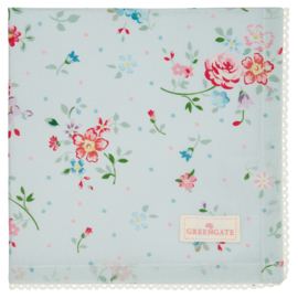 GreenGate Cotton Napkin With Lace Belle Pale Blue 40 x 40 cm
