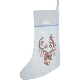 GreenGate Cotton Christmas Stocking Dina Pale Blue