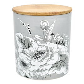 GreenGate Storage Jar Felicity Grey Medium With Wooden Lid H 12,7 cm