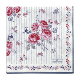 GreenGate Paper Napkin Elisabeth White Large 20 Pieces 33 x 33 cm