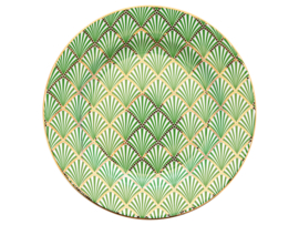 GreenGate Stoneware Plate Fan Green