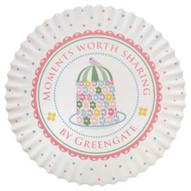 GreenGate Ceramic Coaster Round Tenna White