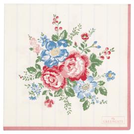 GreenGate Paper Napkin Henrietta White Large 20 Pieces 33 x 33 cm