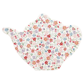 GreenGate Ceramic Coaster Teapot Clementine White