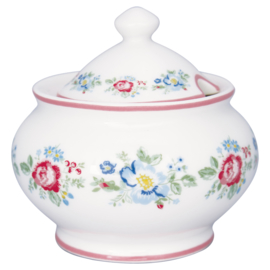 GreenGate Stoneware Sugar Pot Round Henrietta white