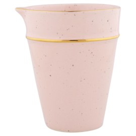 GreenGate Stoneware Pitcher Pale Pink With Gold Rim H 9,6 cm
