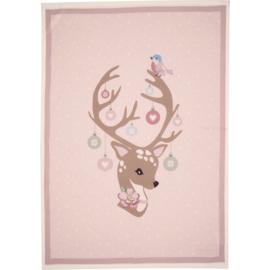 GreenGate Cotton Teatowel Dina Pale Pink Piece Printed 50 x 70 cm