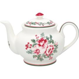 GreenGate Stoneware Teapot Round Charline White H 15,5 cm