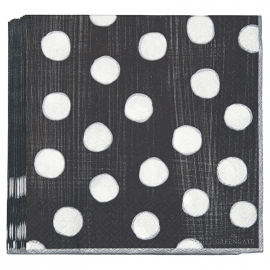 GreenGate Paper Napkin Paula Dark Grey Large 20 Pieces