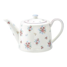 GreenGate Stoneware Teapot Nicoline White H 15,5 cm