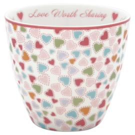 GreenGate Stoneware Latte Cup Love Pastel Mix H 9 cm