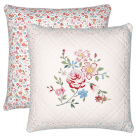 GreenGate Quilted Cushion Belle White With Embroidery 40 x 40 cm