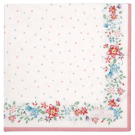 GreenGate Paper Napkin Belle White Large 20 Pieces 33 x 33 cm