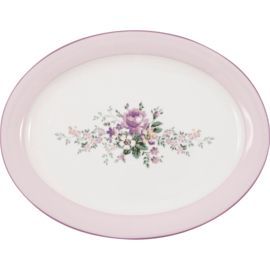 GreenGate Stoneware Oval Serving Plate Marie Dusty Rose