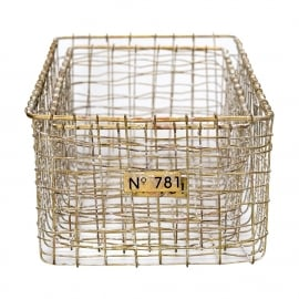 GreenGate Wire Basket Whitewashed Gold Large Set Of 2 Pieces