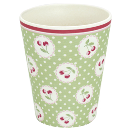 GreenGate Bamboo Cup Cherry Berry Pale Green H 9.5 cm