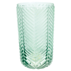 GreenGate Waterglass Allover Pale Green Cutting Large H 14 cm