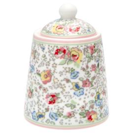 GreenGate Stoneware Sugar Pot Vivianne White H 10 cm