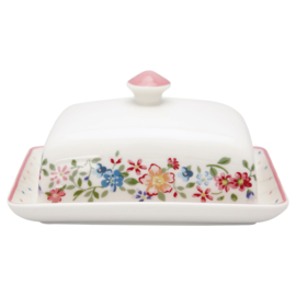 GreenGate Stoneware Butter Box Square Belle White