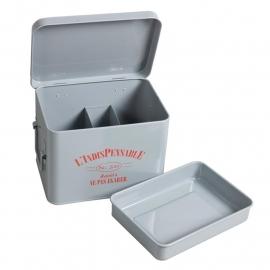 Comptoir de Famille Storage Box Grey Enamel 22 x 16 x H. 15 cm