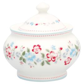 GreenGate Stoneware Sugar Pot Round Sonia White H 10 cm