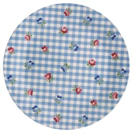 GreenGate Melamine Plate Viola Check Pale Blue