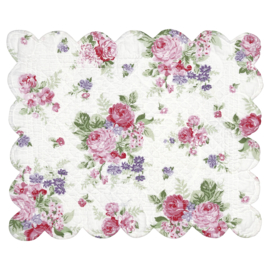 GreenGate Placemat Curved Edge Rose White 35 x 45 cm
