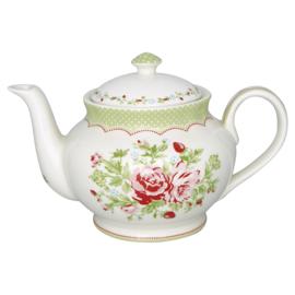 GreenGate Stoneware Teapot Round Mary White H 15,5 cm