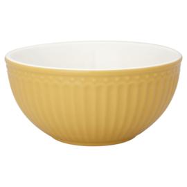 GreenGate Stoneware Cereal Bowl Alice Honey Mustard D 14 cm