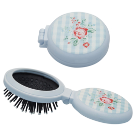 GreenGate Plastic Pocket Mirror Round With Brush Henrietta