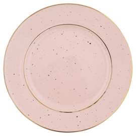 GreenGate Stoneware Plate Pink With Gold Rim D 20 cm
